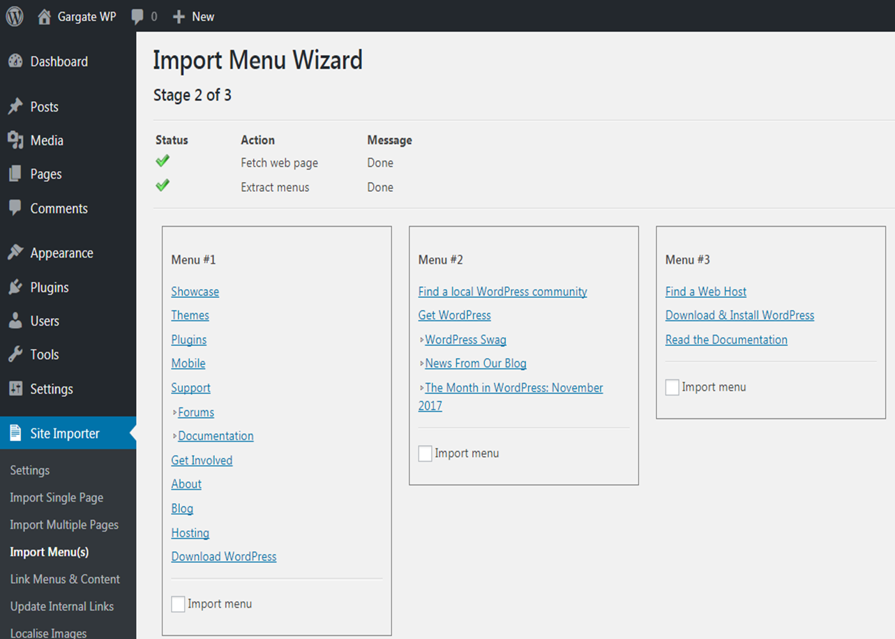 WordPress Plugin - Automated Menu Import