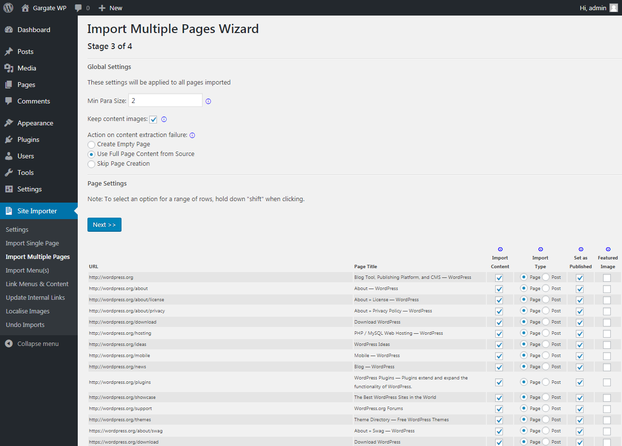 WP Site Importer imports all of your content from any website into WordPress