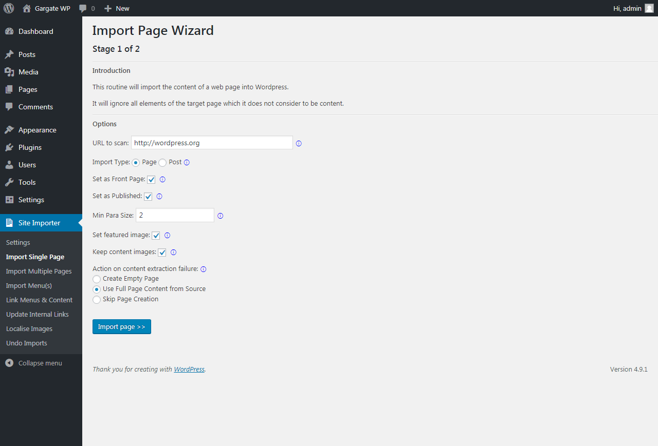 WordPress Plugin Home Page Import