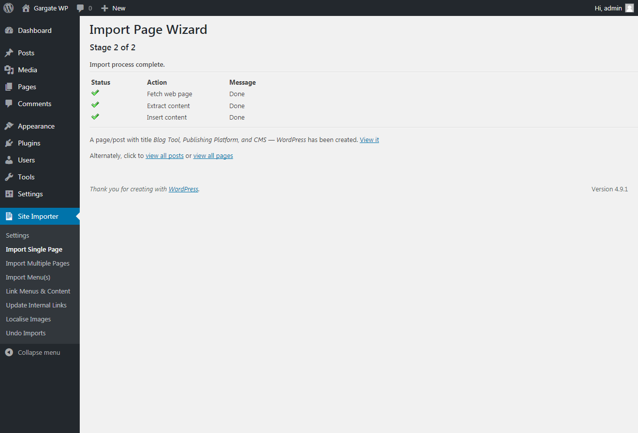 Importing a Single Page - WordPress Import Plugin - WP Site Importer