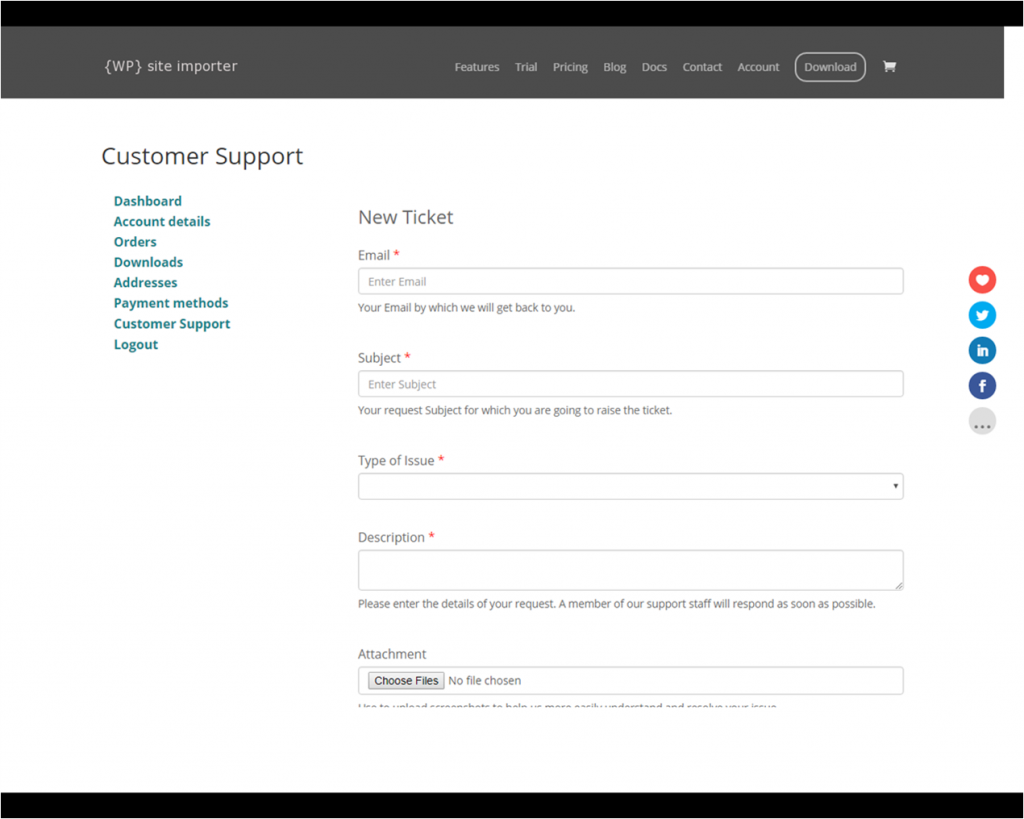 Raising a Support Ticket within the WooCommerce Account Management Area
