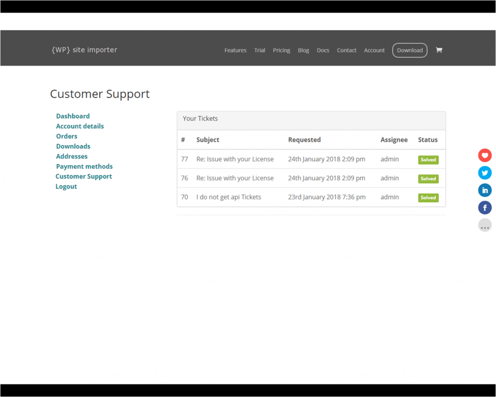Reviewing Support Tickets within the WooCommerce Account Management Panel