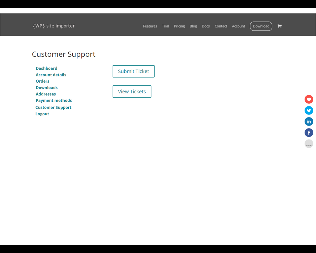 The WooCommerce Account Management Panel with Customer Support Menu Item